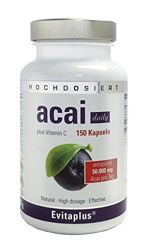 Acai DAILY 50.000mg – 150 Kapseln – 30:1 – TESTSIEGER 2018 PREIS/LEISTUNG – Höchstdosierte Premium Qualität auch für Veganer