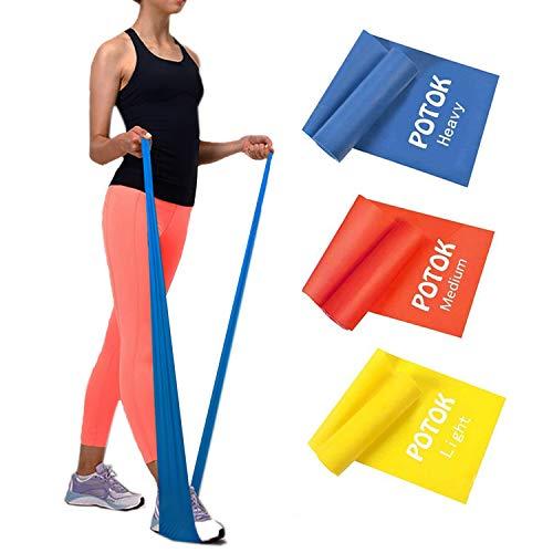 Potok Fitnessbänder 3er-Set 120 x 15 cm für Fitness, Reha, Gymnastik und Physiotherapie | Leicht | Medium | Stark – Fitnessband Trainingsband Gymnastikband, Für Männer & Frauen