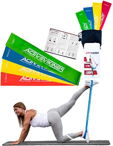 Fitnessbänder Set 4-Stärken by ActiveVikings® – Ideal für Muskelaufbau Physiotherapie Pilates Yoga Gymnastik und Crossfit – Fitnessband Gymnastikband Widerstandsbänder