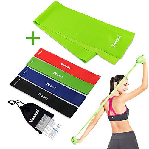 Yoassi 150×15 cm Fitnessband mit Set 4-Stärken 30×5 cm Widerstandsbänder-Stretchband Fitness Gymnastik Gummibänder Fitness für Muskelübungen/Sport/Yoga/Dehnen