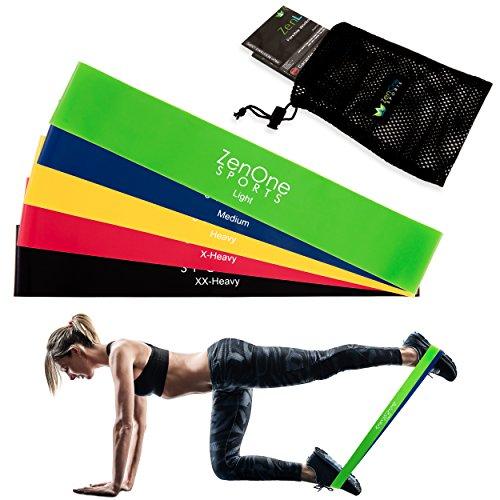 Fitnessbänder Set I 5 Trainingsbänder ZenLoops inkl. Gratis E-Book, Workout-Guide & Tasche I Das Premium Dehnband Resistance Band Set für effektives Training Zuhause